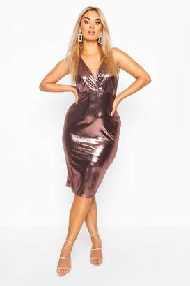 boohoo Plus metallic Wrap Front Midi Dress