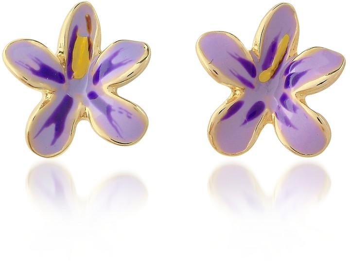 A-Z Collection Garden Line - Purple Enamel Flower Earrings