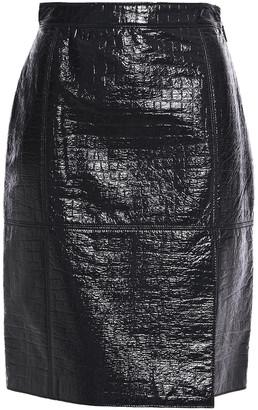 MSGM Croc-effect Coated Cotton-blend Mini Skirt