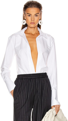 GAUGE81 Serena Deep V Shirt in White | FWRD