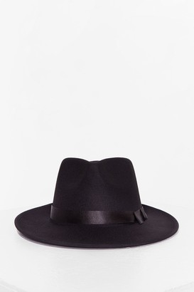 Nasty Gal Womens I Spy Faux Wool Fedora Hat - Black