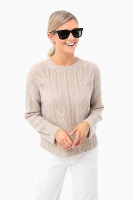 Vince Light Heather Taupe Open Knit Cable Crew