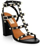 Valentino Rockstud Leather T-Strap Block Heel Sandals