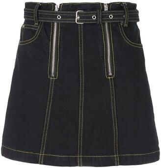 Proenza Schouler White Label PSWL zip denim skirt