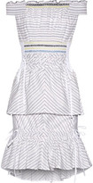 Peter Pilotto Cutout Smocked Striped Cotton And Silk-Blend Dress
