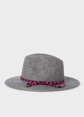 Women's Grey Wool Felt Fedora Hat with Climbing Rope