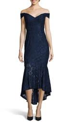 Xscape Evenings Off the Shoulder High/Low Hem Lace Cocktail Dress