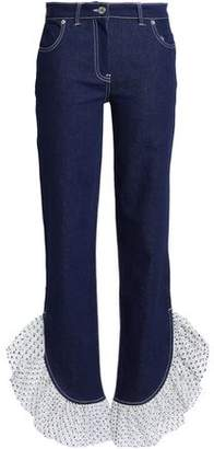 House of Holland Ruffle Tulle-trimmed Mid-rise Straight-leg Jeans