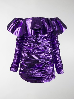 ATTICO Off Shoulder Ruffle Dress