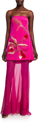 Cushnie Floral-Embroidered Strapless Gown