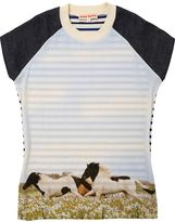 Horses Print Twill & French Terry Dress