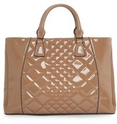 MANGO Outlet Quilted Patent Tote Bag