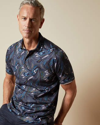Ted Baker HIGHUTT Tall paisley printed cotton polo top