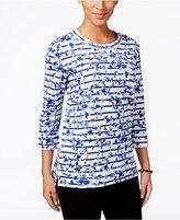 Karen Scott Petite Printed Sweatshirt, Only at Macy's