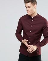 Asos Skinny Shirt In Dark Plum With Grandad Collar And Long Sleeves