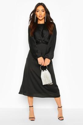 boohoo Twist Front Midi Dress