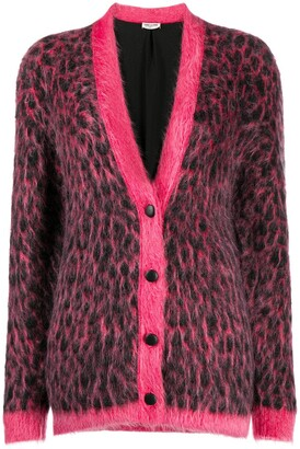 Saint Laurent Brushed Leopard-Print Wool Cardigan