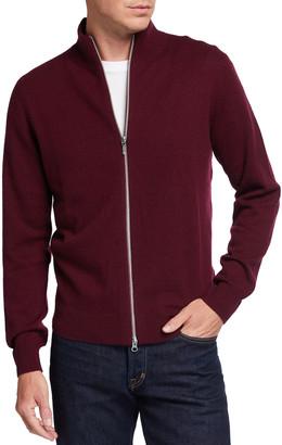 Neiman Marcus Men's Mock-Neck Shiny-Zip Sweater