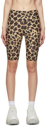 MSGM Beige Leopard Sports Shorts