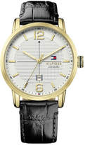 Tommy Hilfiger Mens George 3 Hand With Date Rnd Gld Blk Strap