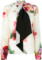 Lanvin neck tie floral blouse - women - Silk - 38