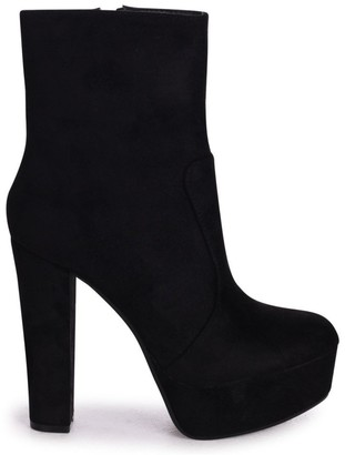 Linzi LEONIE - Black Suede Round Toe Platform Ankle Boots