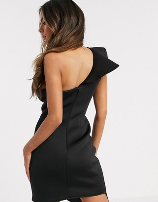 Love & Other Things ruffle one shoulder scuba dress in black