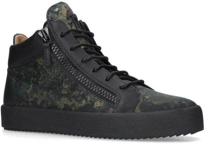Giuseppe Zanotti Kriss Camouflage Leather Sneakers
