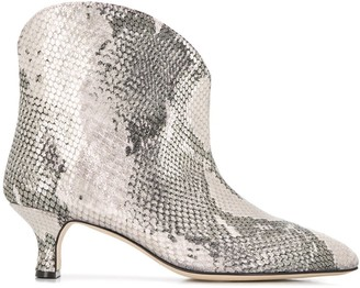 Paris Texas Snake-Effect Ankle Boots