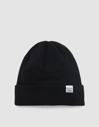 Norse Projects Men's Norse Top Beanie Hat in Black | Wool