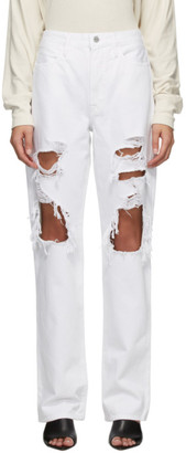 Frame White Rumpled Le Hollywood Jeans