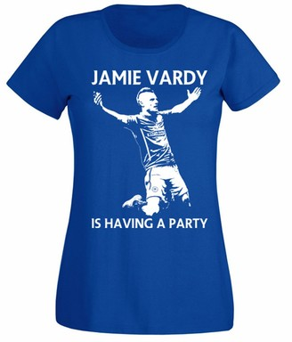 Flip Womens Jamie Vardy is Having A Party Leicester City Football T-Shirt Royal Blue UK 8-10 (M)