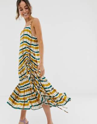 GHOSPELL oversized midi cami dress in check with ruffle hem