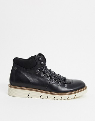 Jack and Jones leather hiking boot with contrast sole in black
