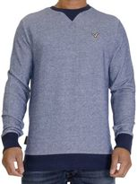 Voi Jeans New Mens Designer Crew Neck Sweat Jumper West Navy Marl
