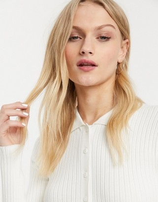 Monki button through fine knit top in white