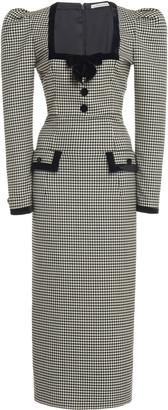 Alessandra Rich Velvet-Trimmed Gingham Wool-Blend Midi Dress
