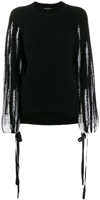 Ann Demeulemeester Striped Sleeve Jumper