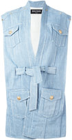 Balmain oversize belted denim jacket - women - Cotton/Spandex/Elastane/Viscose - 34