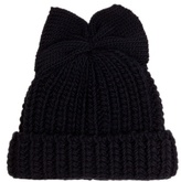 Federica Moretti Bow-detail knitted beanie hat