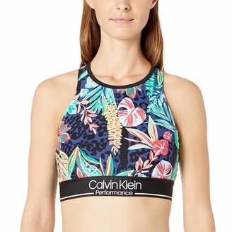 Calvin Klein Women's Island Cheetah Print Halter Sports Bra