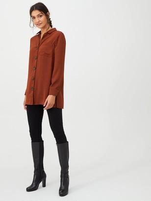 Wallis Button Front Longline Shirt - Rust