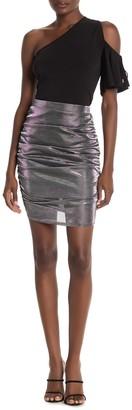 Wild Honey Metallic Ruched Mini Skirt