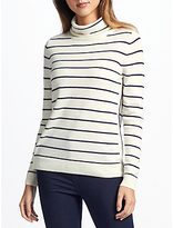 John Lewis Collection WEEKEND by Cashmere Stripe Roll Neck Jumper, Navy/Ivory