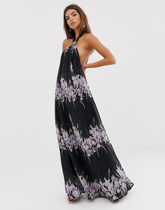 ASOS DESIGN halter neck trapeze maxi dress in placed linear floral