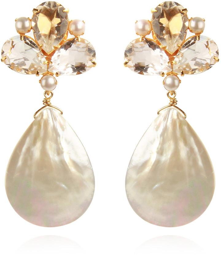 Bounkit Mother of Pearl & Clear Quartz Earrings