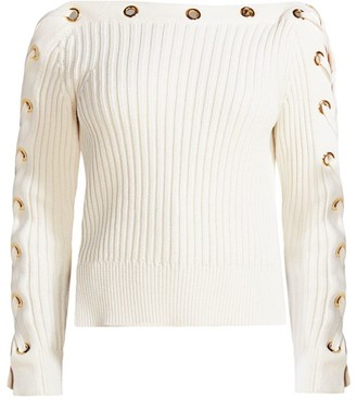Alexander McQueen Lace-Up Ribbed Boatneck Sweater
