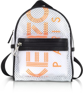 Kenzo White PVC & Mesh Sport Logo Mini Backpack