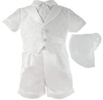 Little Angels Christening Baptism Baby Boy Cross Dobby Shawl Collar Short Set with Matching Hat