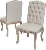 Asstd National Brand Roswell Set of 2 Tufted Dining Chairs with Nailhead Trim